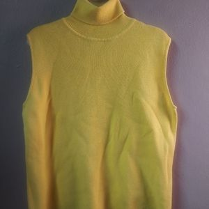 Vintage Sleeveless Yellow Knit Turtleneck sz L